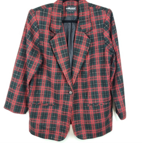 Sag Harbor Jackets & Blazers - Vintage Sag Harbor Plaid Green Red Gold Blazer